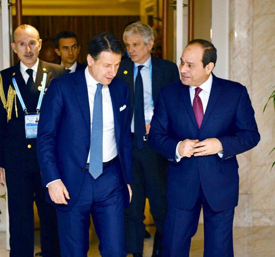 السيسى يلتقى رئيس وزراء إيطاليا (2)