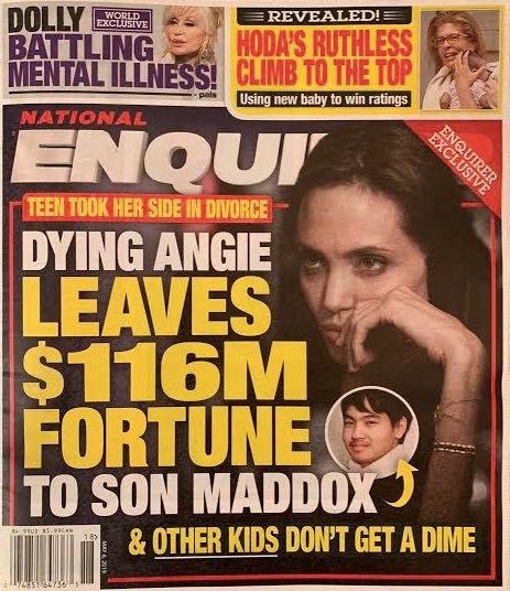 عناوين الصحف عن انتقال ثروة أنجلينا جولى لابنها الأكبر