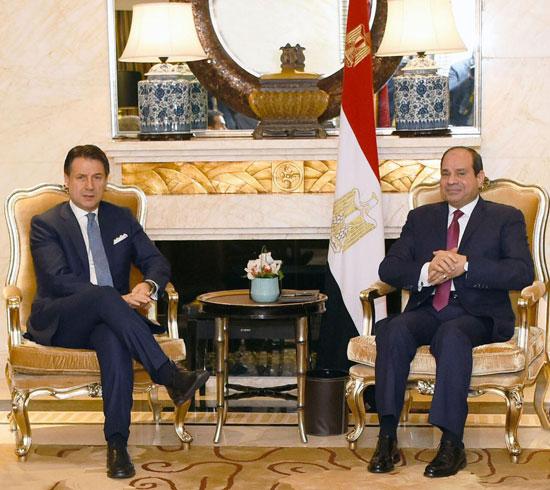 السيسى يلتقى رئيس وزراء إيطاليا (1)