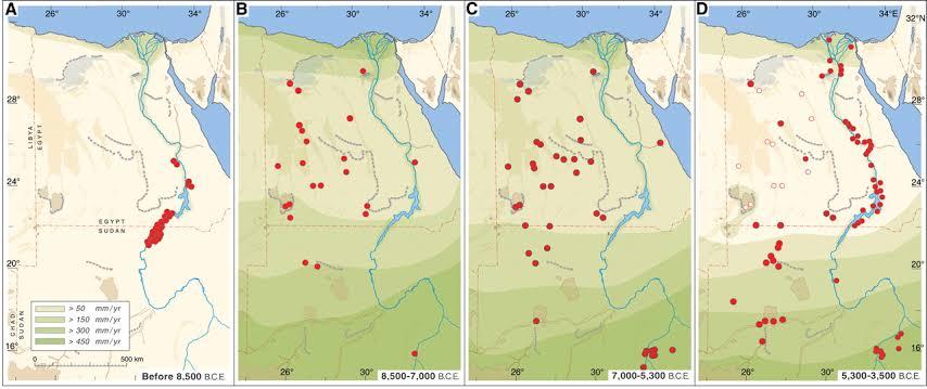 شكل لخريطة مصر قبل التوحيد يظهر فيها من اليسار لليمين أن الظروف المناخية فى العصور القديمة كانت جافة، فكان الناس يتجمعون عند (النقط الحمراء) حول وادى النيل، وبعد تغيير الظروف المناخية بشكل  أفضل فى الصحراء، حيث كانت كلها مناطق خضرا فأنتشرت الناس فيها