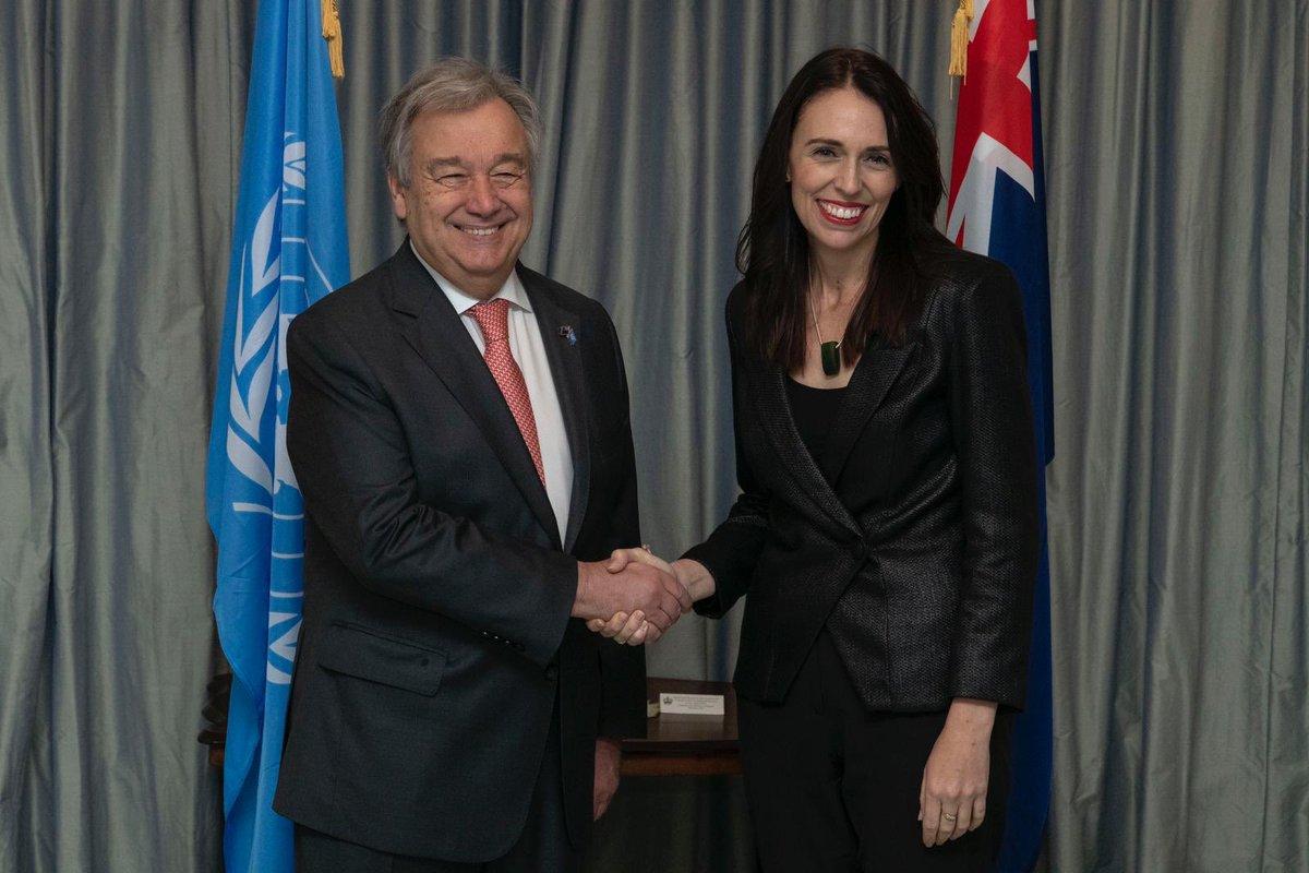 أمين عام الأمم المتحدة يتلقى رئيسة وزراء نيوزيلندا