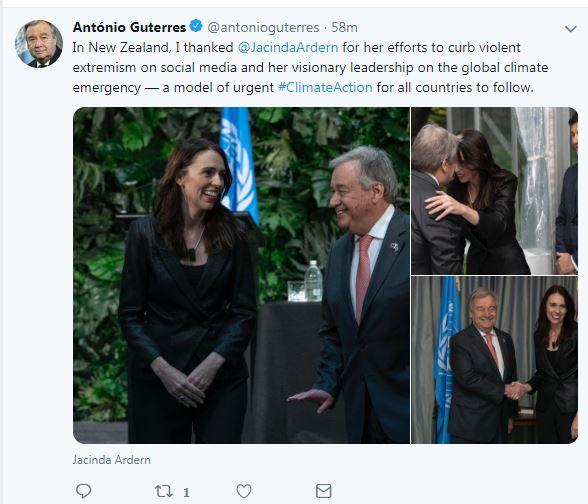 تدوينة أمين عام الأمم المتحدة عن لقائه برئيسة وزراء نيوزيلندا