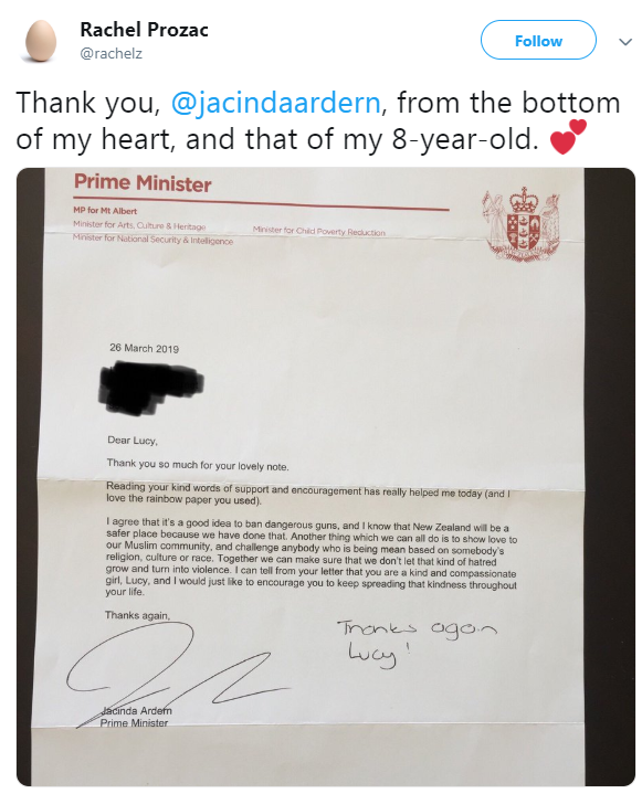 رد رئيسة وزراء نيويلندا على طلب الطفلة