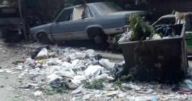 تشكو من تراكم القمامة والسيارات الخردة بشارع المشتل مصر القديمة