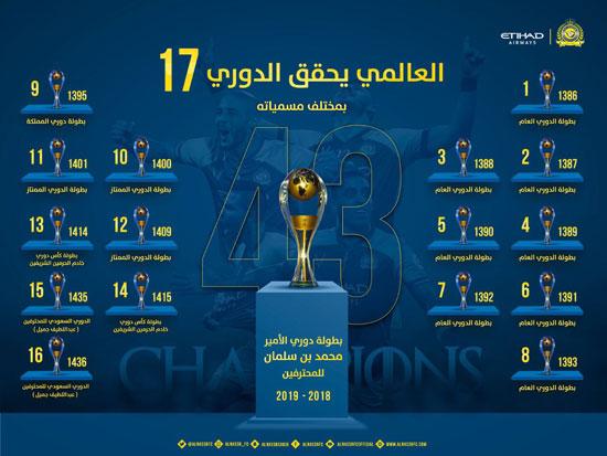 النصر صاحب 17 لقب في تاريخ الدوري
