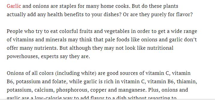 فوائد البصل والثوم فى الطعام