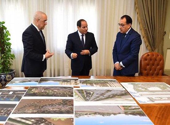 السيسى يجتمع برئيس الوزراء ووزير الإسكان (3)