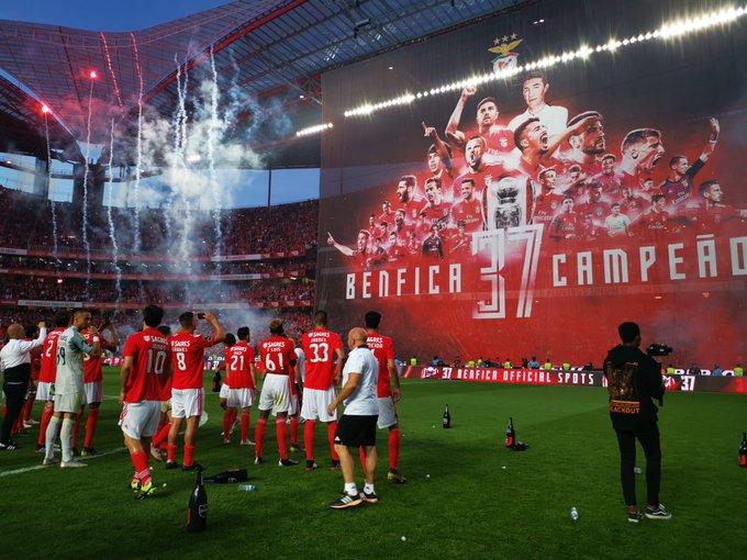 احتفالات لاعبى بنفيكا بالدوري البرتغالى