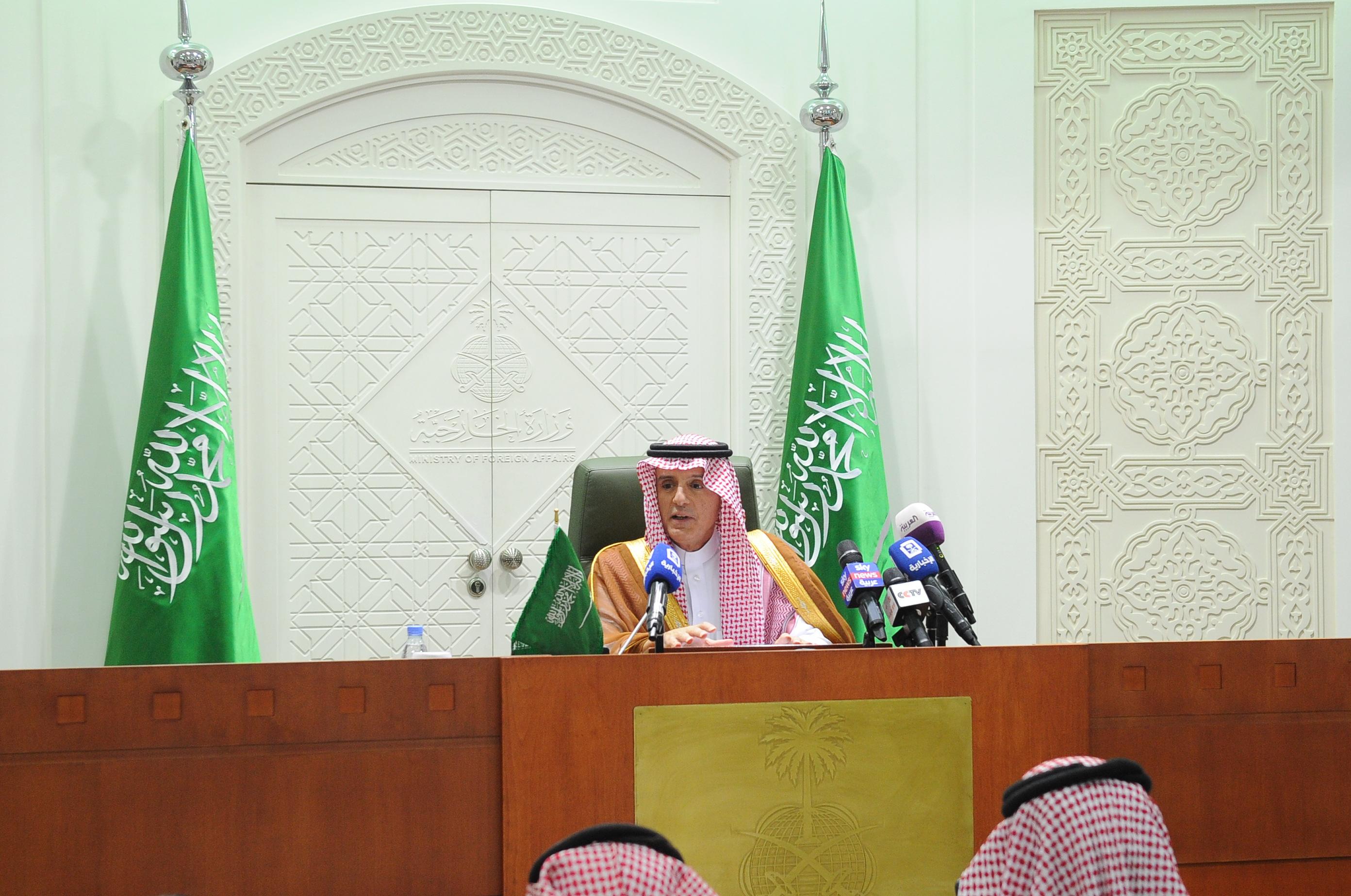عادل الجبير خلال المؤتمر الصحفى