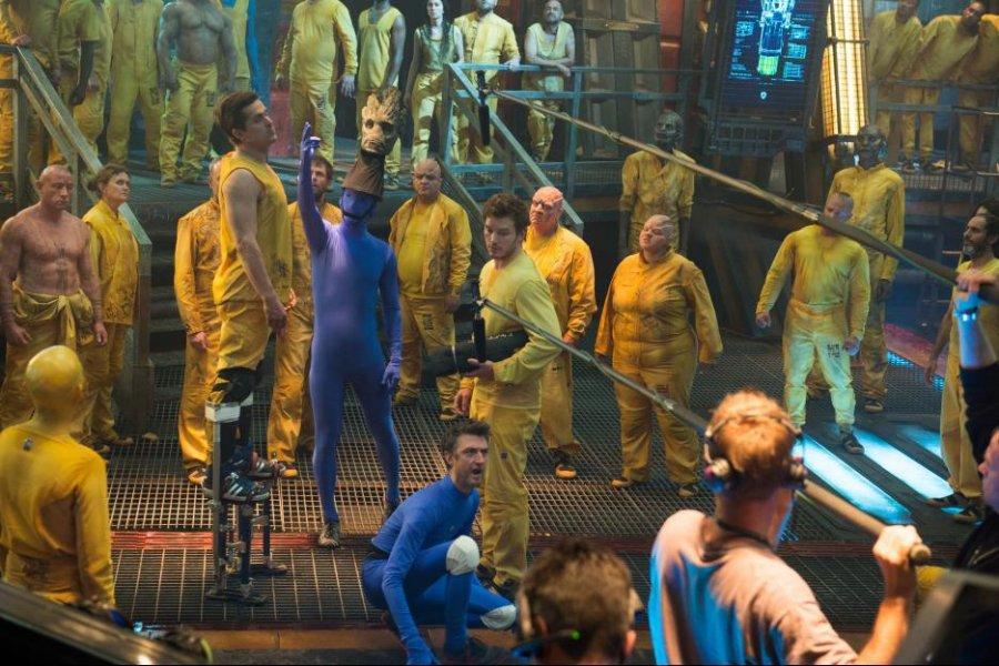 شين جن وكريستين جولويسكي وكريس برات في كواليس  Guardians of the Galaxy في 2014