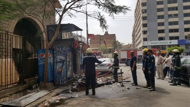 حريق داخل كشك فى مصر الجديدة (1)