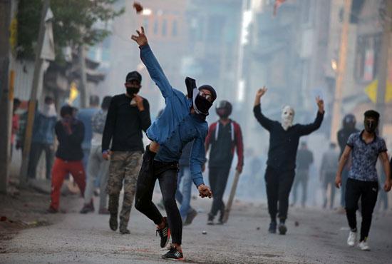 جانب من الاحتجاجات بكشمير
