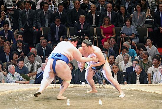 الرئيس ترامب وزوجته يتابعان مباراة فى مصارعة السومو