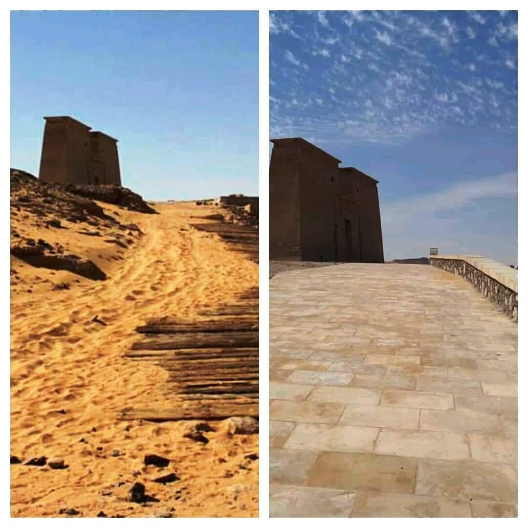 معبد الدكة قبل خطة التطوير وبعد الانتهاء من جزء منها (1)