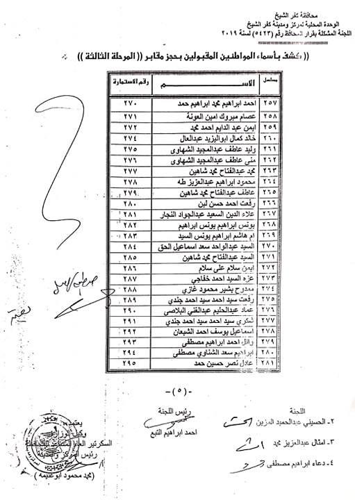 أسماء المقبلوين في حجز المقابر المرحلة الثالثة بكفر الشيخ  (5)