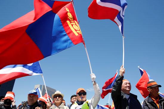 جانب من الاحتجاجات فى منغوليا