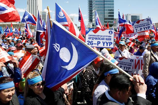 الآلاف يحتجون فى منغوليا