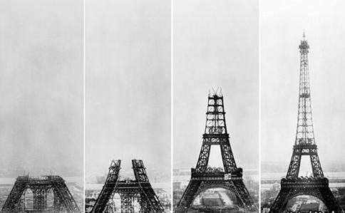 أنشأ البرج فى مدة عام و6 أشهر وخمسة أيام من سنة 1887 إلى 1889، بأيدى 250 عاملا