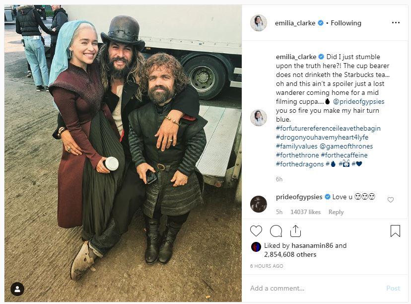 إيميليا كلارك تنفى علاقتها بكوب القهوة فى Game of Thrones