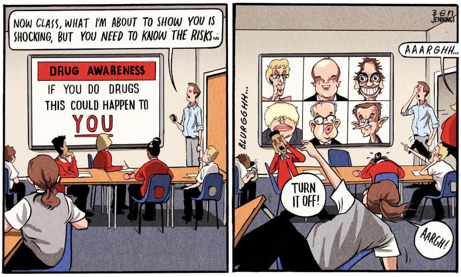 اعتراف المحافظين بتعاطى المخدرات يهيمن على كاريكاتير الصحف البريطانية