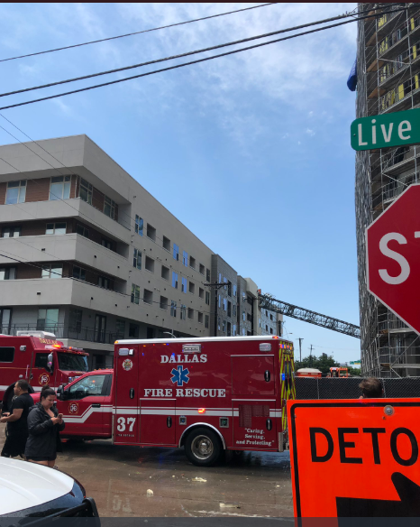Crane falls on a residential building in downtown Dallas