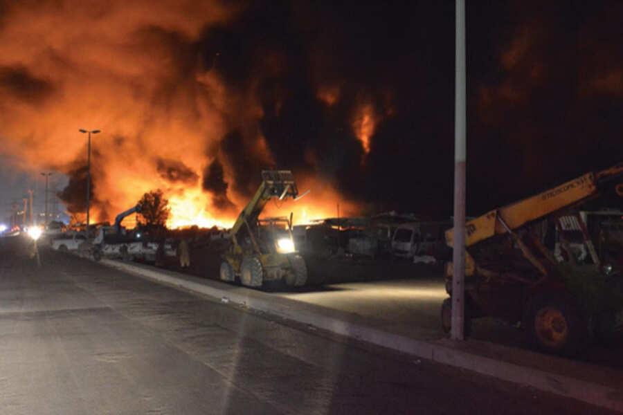حريق فى تشليح بريمان بمحافظة جدة