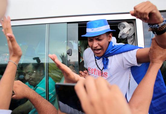 مسجون سياسيى يحتفل بخروج من السجن فى نيكاراجوا