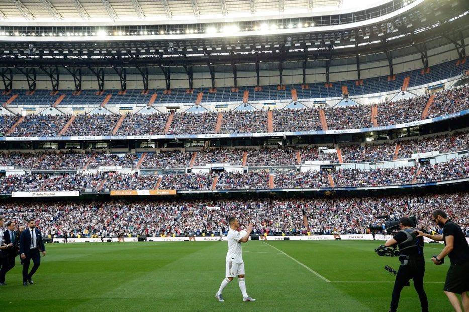 ترحيب جماهير ريال مدريد بهازارد