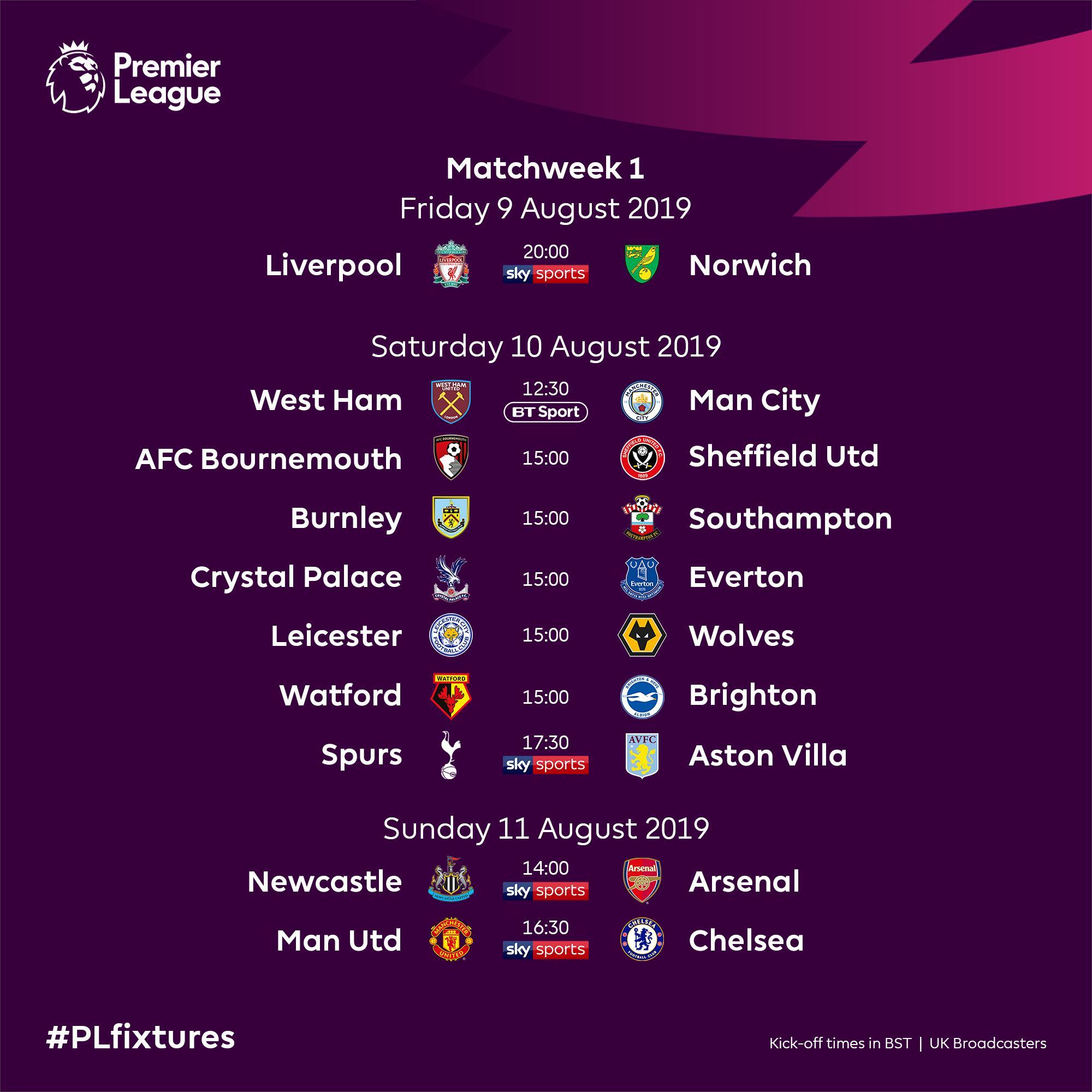 مواعيد مباريات الجولةالاولى فى الدوري الانجليزي