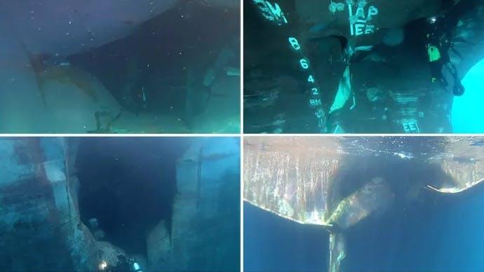 آثار تعرض ناقلة النفط للضرب بطوربيد أسفل الماء