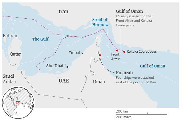 خريطة توضيحية لمسار ناقلتى النفط