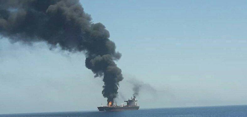 ناقلة النفط فى خليج عمان بعد ضربها