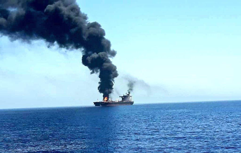 النيران تشتعل فى ناقلة النفط فى خليج عمان