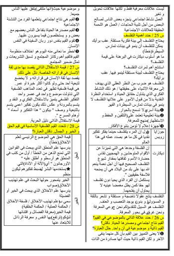 المراجعات النهائية لطلاب الثانوية العامة فى مادة الفلسفة (7)