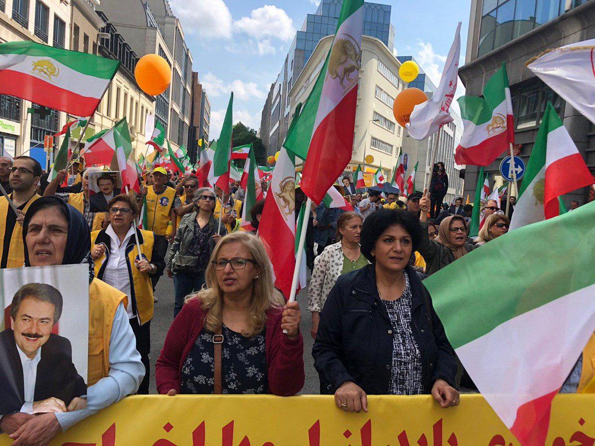 مسيرات مظاهرات المعارضة الإيرانية فى بروكسل
