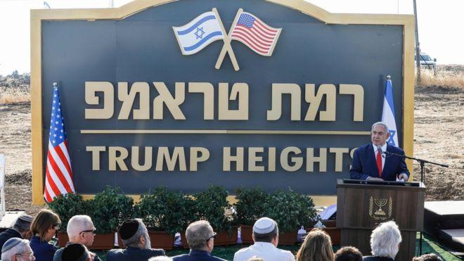 نتنياهو يلقي كلمة في موقع مستوطنة ترامب