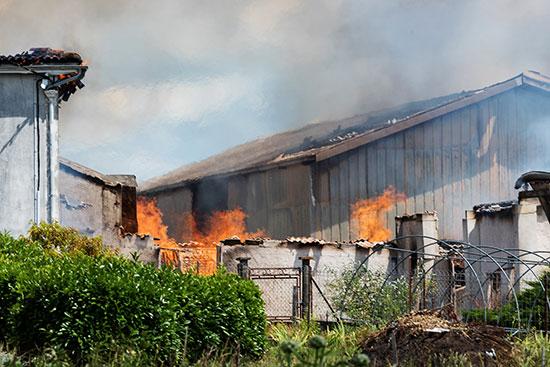 النيران تلتهم المخزن