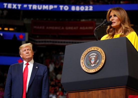 ميلانيا تلقى كلمة فى المؤتمر الجماهيرى للرئيس ترامب