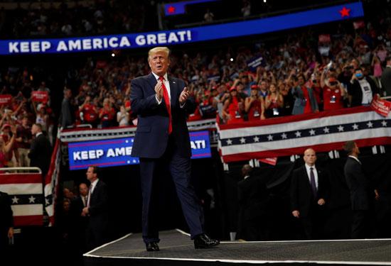 ترامب يقف أمام مؤيديه فى المؤتمر الانتخابى