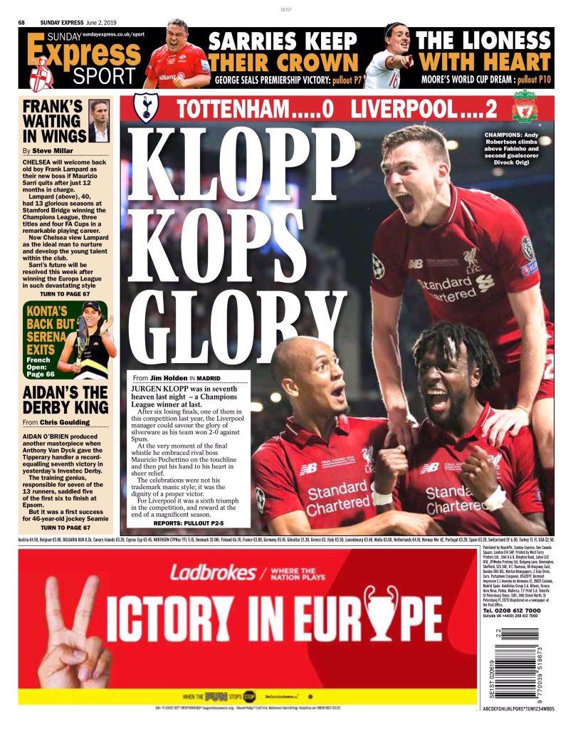 غلاف صحيفة اكسبريس سبورت