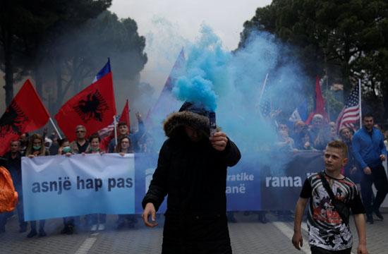 جانب من المسيرات فى ألبانيا