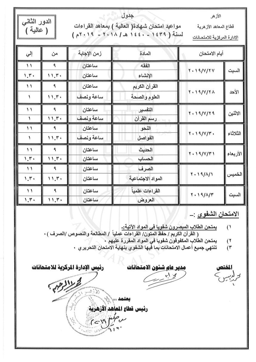 جدول-شهادة-العاليةدور-ثانى-2018-2019_1