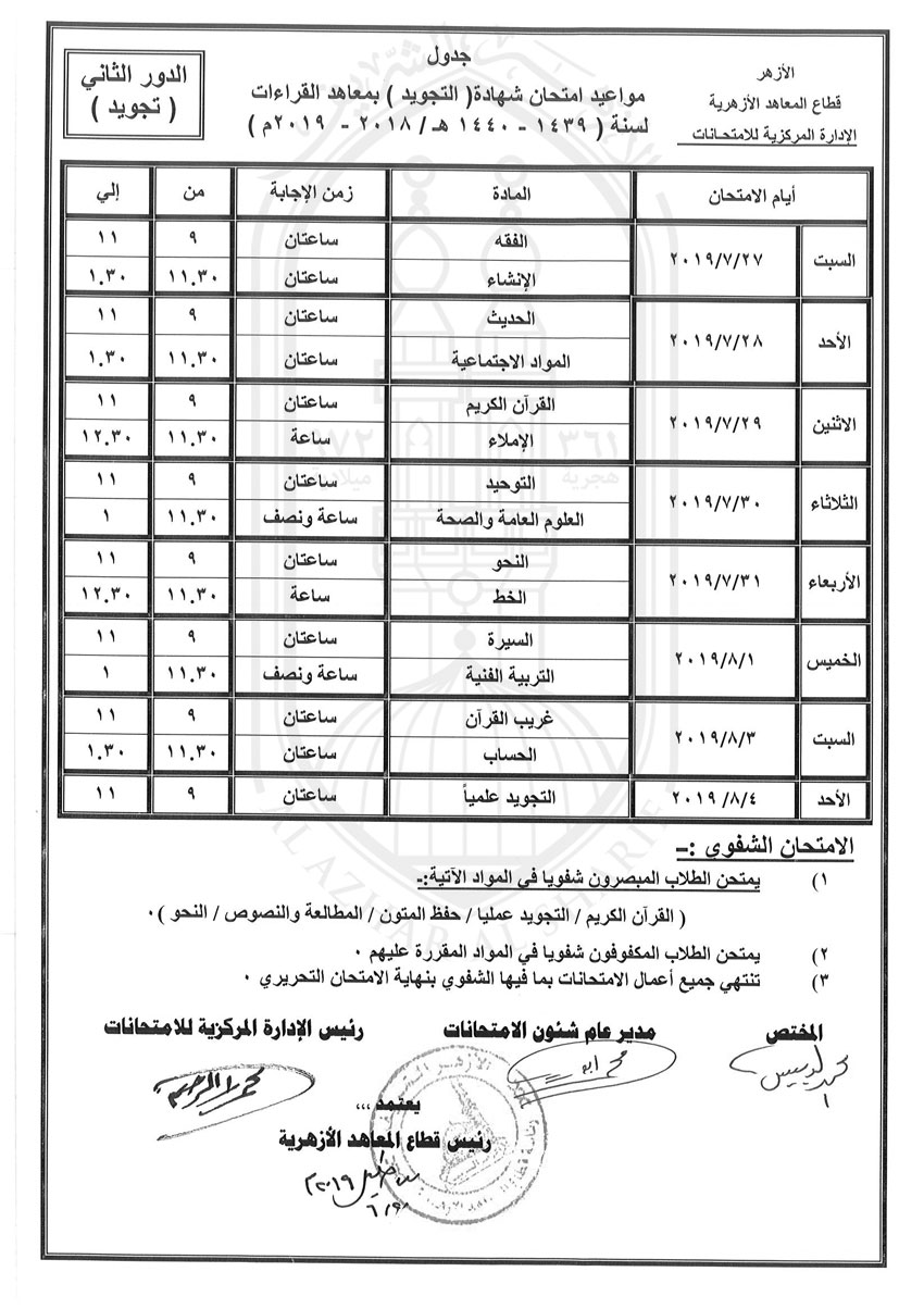 جدول-شهادة-التجويددور-ثانى-2018-2019