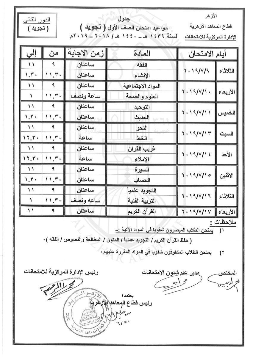 جدول-اولى-تجويد-دور-ثانى-2018-2019