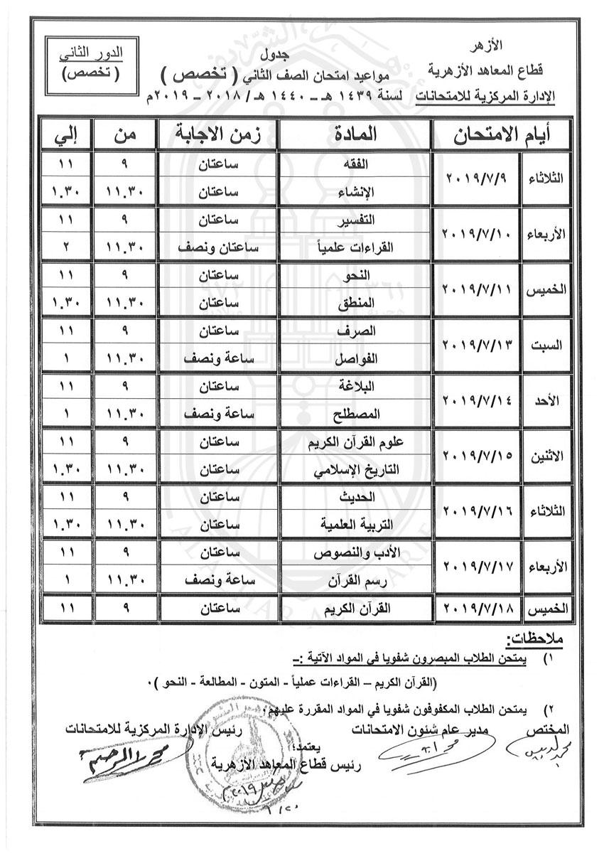 جدول-ثانية-تخصص-دور-ثانى-2018-2019