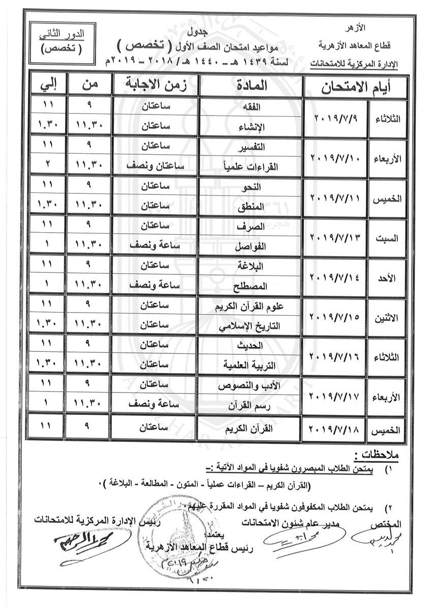 جدول-اولى-تخصص-دور-ثانى-2018-2019