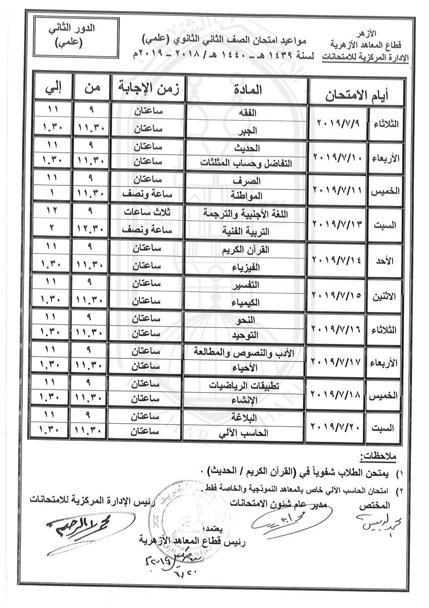 جدول-الثانى-الثانوى-علمى-دور-ثانى-2018-2019_2