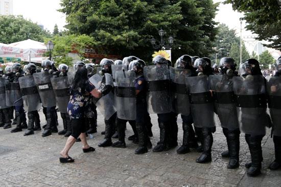 جانب آخر من مظاهرات ألبانيا