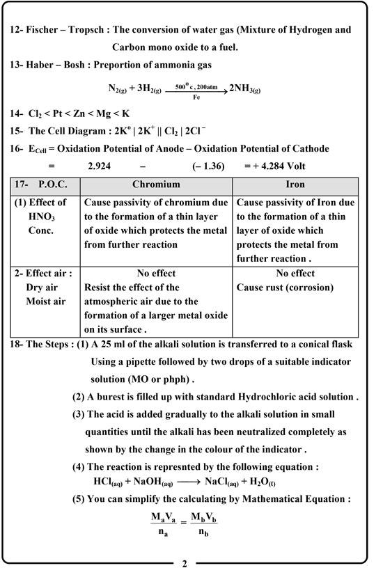 اجابة امتحان الكيمياء (2)