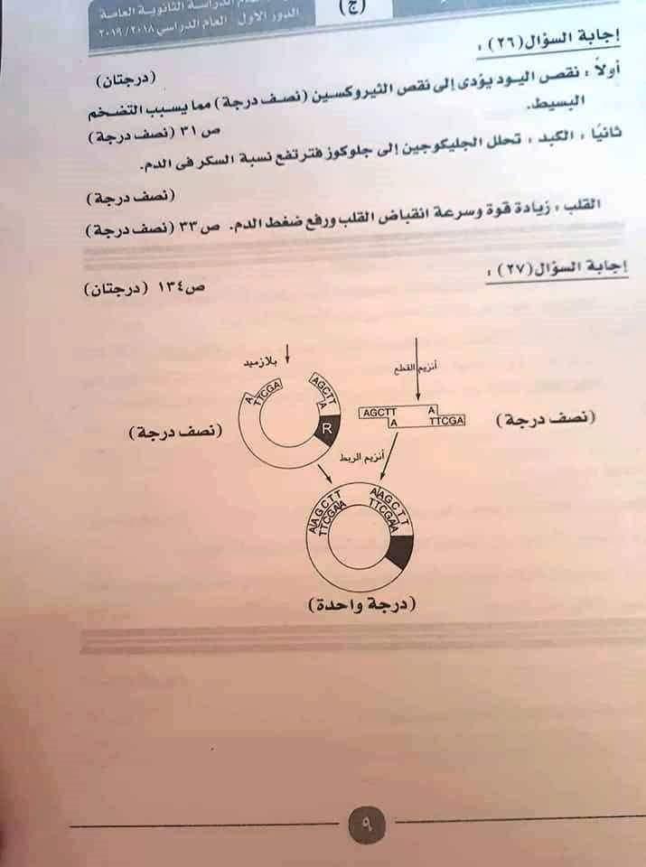 نموذج إجابة امتحان مادة الأحياء (2)